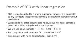 Example of EGO with linear regression