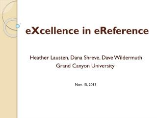 eXcellence in  eReference