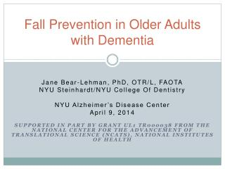 Fall  P revention  in  Older  A dults  with  Dementia