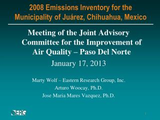 2008 Emissions Inventory for the Municipality of Juárez, Chihuahua, Mexico