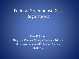 Federal Greenhouse Gas Regulations