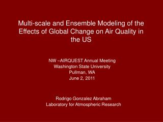Multi-scale and Ensemble Modeling of  the Effects  of Global Change  on  Air Quality in the US