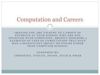 Computation and Careers