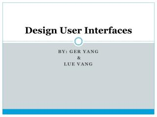 Design User Interfaces