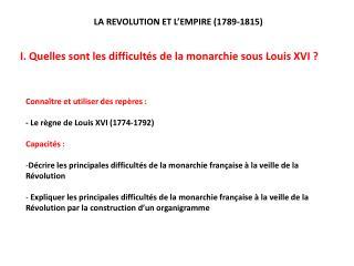 I. Quelles sont les difficult s de la monarchie sous Louis XVI