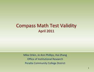 Compass Math Test Validity  April  2011