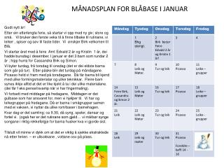 M�NADSPLAN FOR BL�BASE I JANUAR