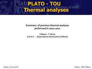 PLATO - TOU	 Thermal  analyses