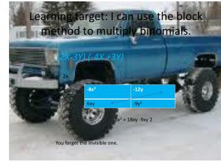 Learning target: I can use the block method to multiply binomials.