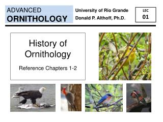History of Ornithology Reference Chapters 1-2