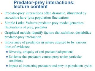 Predator-prey interactions: lecture content