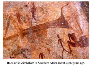 Rock art in Zimbabwe in Southern Africa about 2,000 years ago.