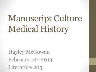 Manuscript Culture Medical  History