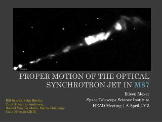 Proper Motion of the Optical Synchrotron Jet in  M87