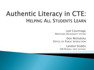 Authentic Literacy in CTE: Helping All Students Learn