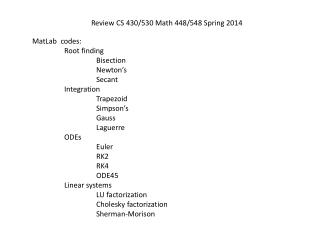 Review CS 430/530 Math 448/548 Spring 2014