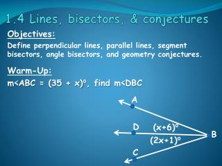 1.4 Lines, bisectors, & conjectures