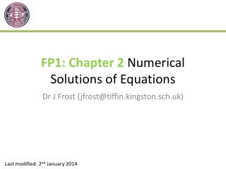 FP1: Chapter 2  Numerical Solutions of Equations