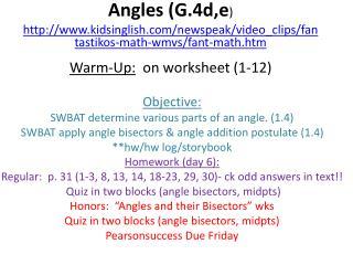 Angles (G.4d,e )