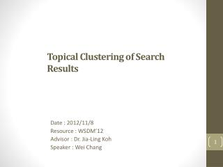 Topical Clustering of Search Results