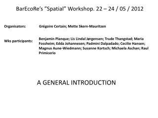 """BarEcoRe's  """"Spatial""""  Workshop . 22 – 24 / 05 / 2012"""