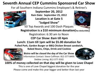 Seventh Annual CEP Cummins Sponsored Car Show