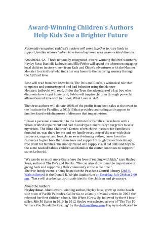 Award-Winning Children's Authors Help Kids See a Brighter Fu