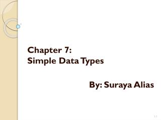 Chapter  7: Simple Data Types By:  Suraya  Alias