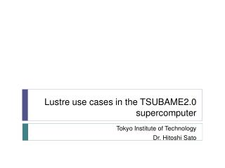 Lustre  use cases  in  the TSUBAME2.0 supercomputer