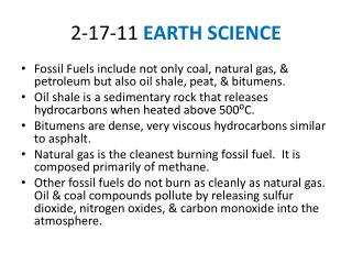 2-17-11  EARTH  SCIENCE