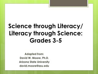 Science through Literacy/ Literacy through Science: Grades 3-5