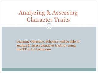 Analyzing & Assessing Character Traits
