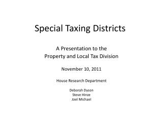 Special Taxing Districts