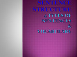 Sentence Structure 4 Types of Sentences & Vocabulary