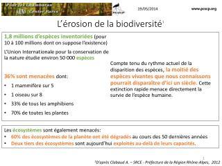 L'érosion de la biodiversité 1