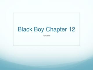 Black Boy Chapter 12