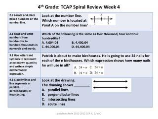 4 th  Grade: TCAP Spiral Review Week  4