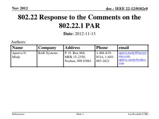 802.22 Response to the Comments on the 802.22.1 PAR