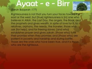 Ayaat  - e - Birr