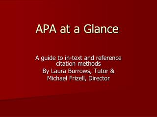 APA at a Glance
