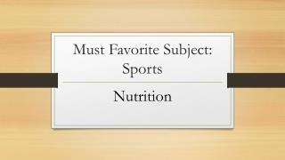 Must Favorite Subject: Sports