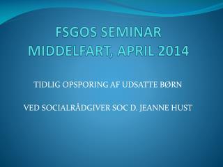 FSGOS SEMINAR MIDDELFART, APRIL 2014