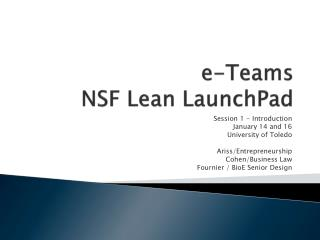 e -Teams NSF Lean  LaunchPad