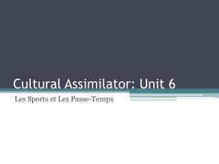 Cultural Assimilator: Unit 6