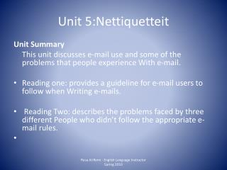 Unit 5:Nettiquetteit