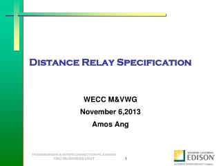 Distance Relay Specification