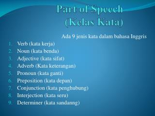 Part of Speech (Kelas Kata)