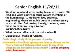 Senior English  11/28/11