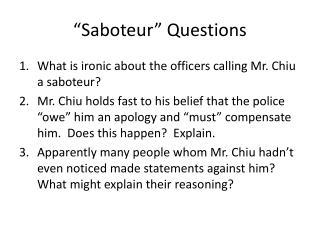 """""""Saboteur"""" Questions"""