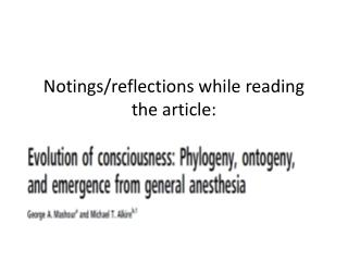 Notings/reflections while reading the article: